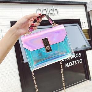 Image 5 - 패션 핸드백 메신저 가방 pvc 핸드백 버클 디자인 메신저 가방 레이저 어깨 가방