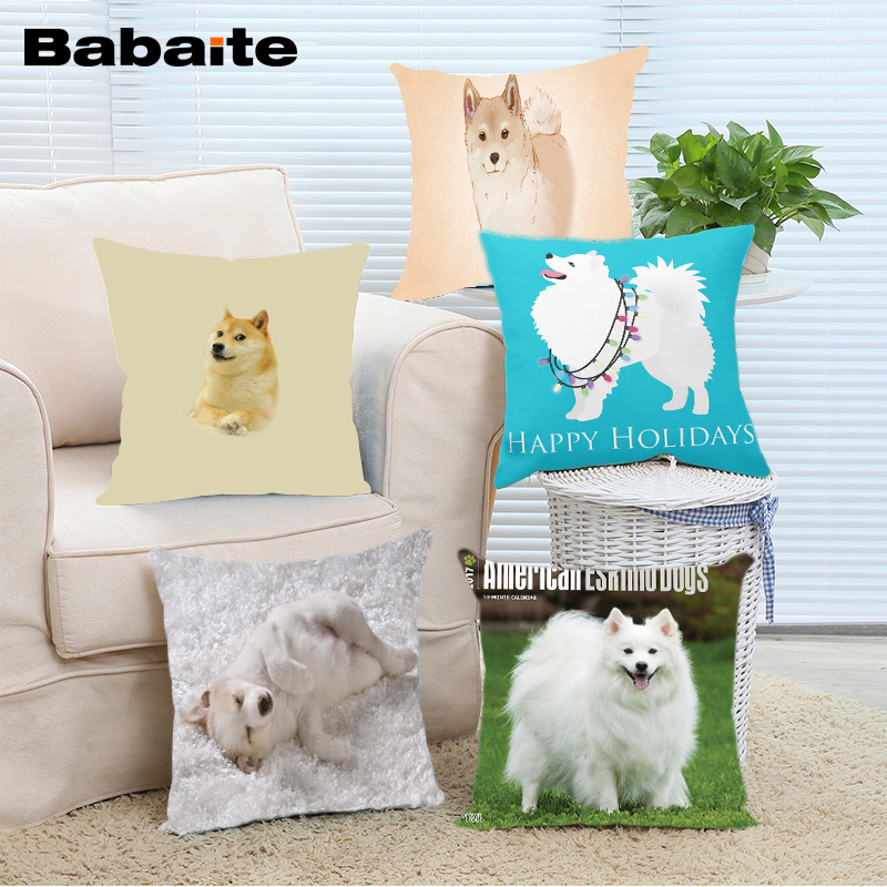 Babaite Hot Sale American Eskimo Dog Cute Happy Holidays Funny Design Cover Square Pillowcase 14x14 16x16 18x18 20x20 24x24