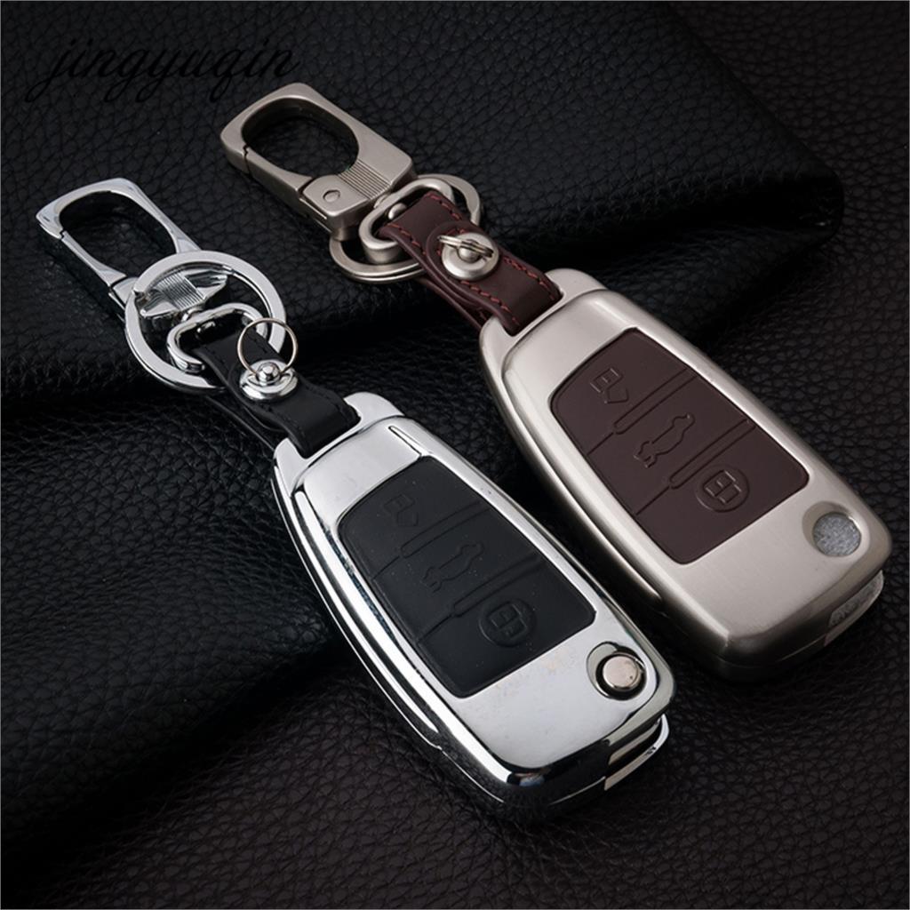 jingyuqin 3 Button Folding Flip Remote Key Case Fob For Audi A2 A3 A4 A6 A6L A8 TT Zinc Leather Keychain Cover