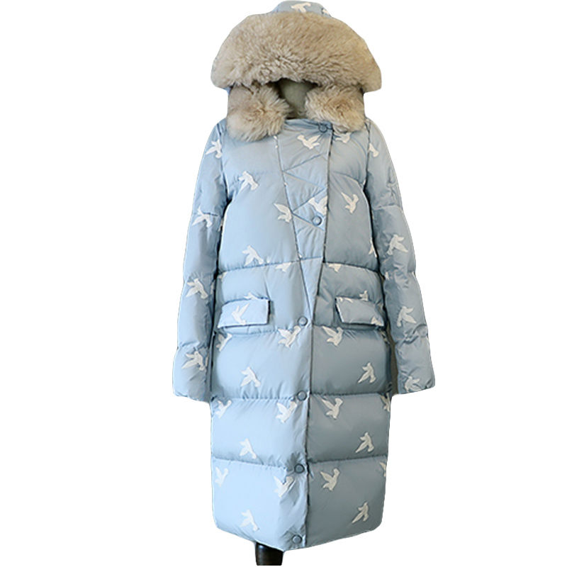 цена Long Embroidery Quilted Coat Woman Winter Puffer Jacket 2017 Fur Hooded Military Parka Down Cotton Plus Size Outerwear SS793 онлайн в 2017 году