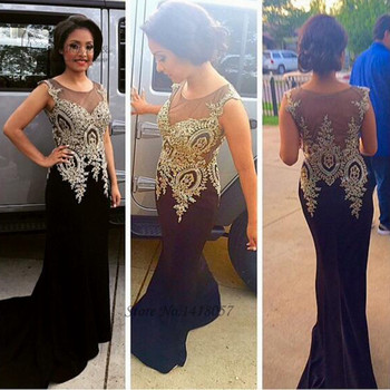 Robe de Soiree Hot Sell Formal Black Gold Lace Evening Dresses Long Elegant Prom Dress Cheap 2017 Mermaid Party Gown Sweep Train