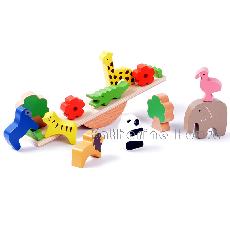 2016 New Arrival Kids Toys 13pcs Animal Balance Building Blocks DIY Creative Brick Toy for Baby Educational  Learning Gift gigo science toys 1603 colorful animal pattern work cards model building kits teaching aid math balance for kids arithmetic