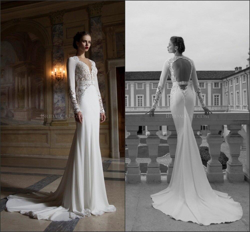 2014 Popular Custom Made Berta Bridal Gown V Neck Sexy