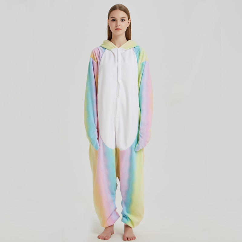 Nice Whale Onesies Pajamas Rainbow Polar Fleece Adult Kigurumi For Halloween Costume Animal One-piece Jumpsuit Cosplay Suit  (2)