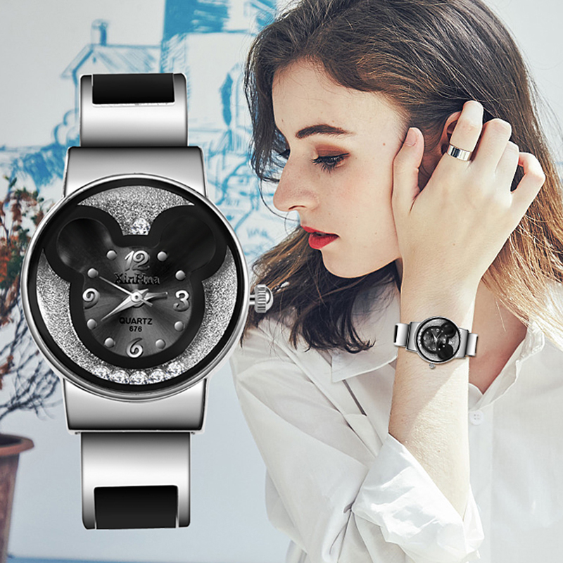 Top Brand Women Watches 2019 Mickey Mouse Stainless Steel Women Watch Clock Ladies Watch Relojes Mujer Montre Zegarek Damski