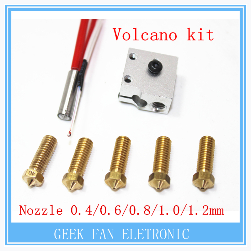 3D printer parts 3D Volcano hot end eruption pack kit-set heater block+nozzle pack for 1.75-3 mm