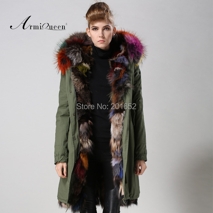 colorful fox fur with a statement trimmed hood Reversible Fox Fur ...