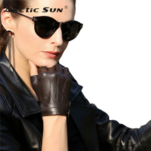 2020 Top Fashion Color Unisex Fingerless Gloves Wrist Half Finger Genuine Leather Glove Sheepskin Driving Mittens L135NN