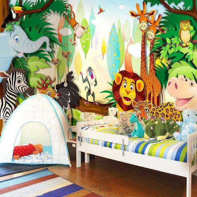 Custom 3D Wall Mural Wallpaper Cartoon Animals World For Children Lion  Elephant Monkey Photo Wallpaper Kids