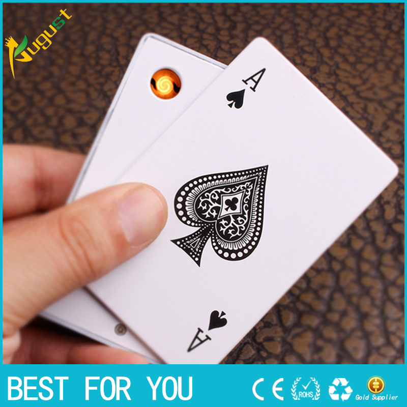 1pc Poker green font b electronic b font font b cigarette b font lighter USB charging