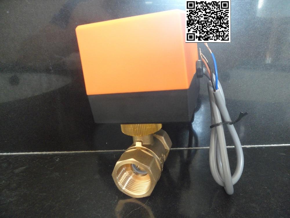 """DN20(G 3/4"""") AC220V electric actuator brass ball <font><b>valve</b></font>,Cold&hot water/Water vapor/heat <font><b>gas</b></font> 2 way Brass Motorized Ball <font><b>Valve</b></font>"""