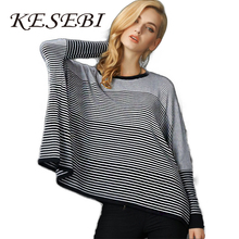 2016 New Autumn and winter European style women s round neck loose bat sleeve knit striped