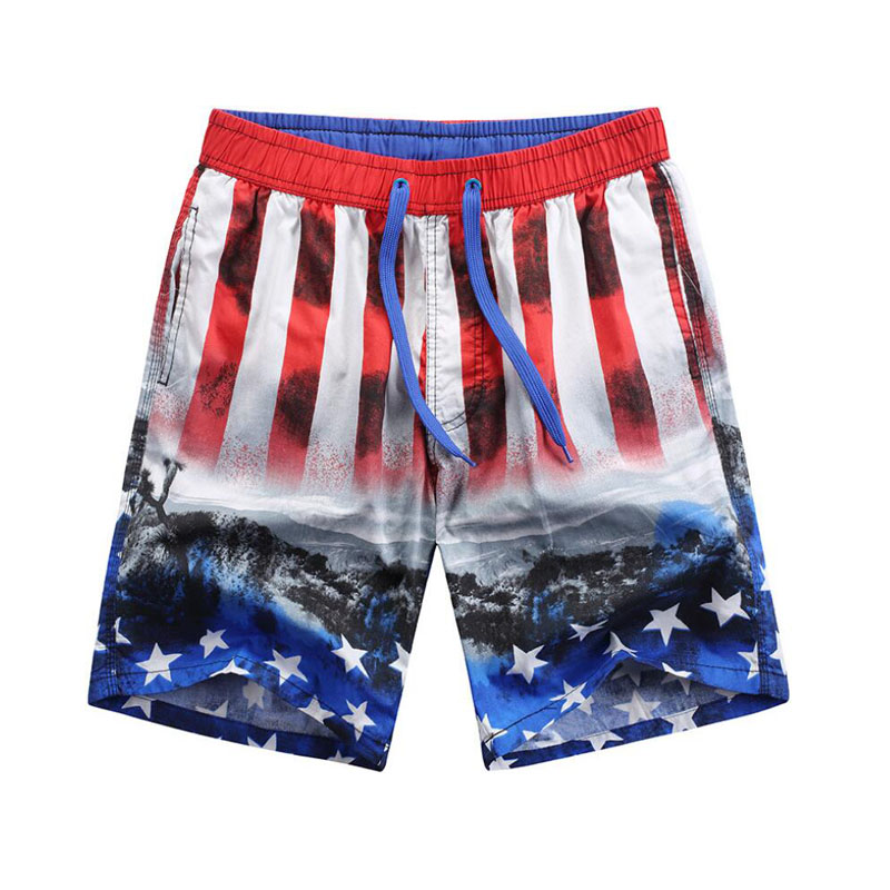 Male Cotton Stripe Stars Surf   Board     Shorts   Men Swimwear Loose Outdoor Beach   Shorts   Swimming Trunks Mens Cargo Workout   Shorts   3XL