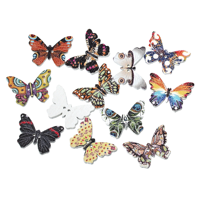 funique 100pcslot wooden buttons butterfly pattern mixed color 2 hole sewing buttons cloth - Butterflies To Color 2