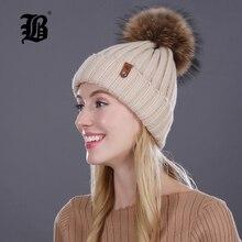 [Flb] норки и лисий мех мяч cap пом англичане зимнюю шапку для женщины девушки hat трикотажные шапочки кап новый толстая женщина cap