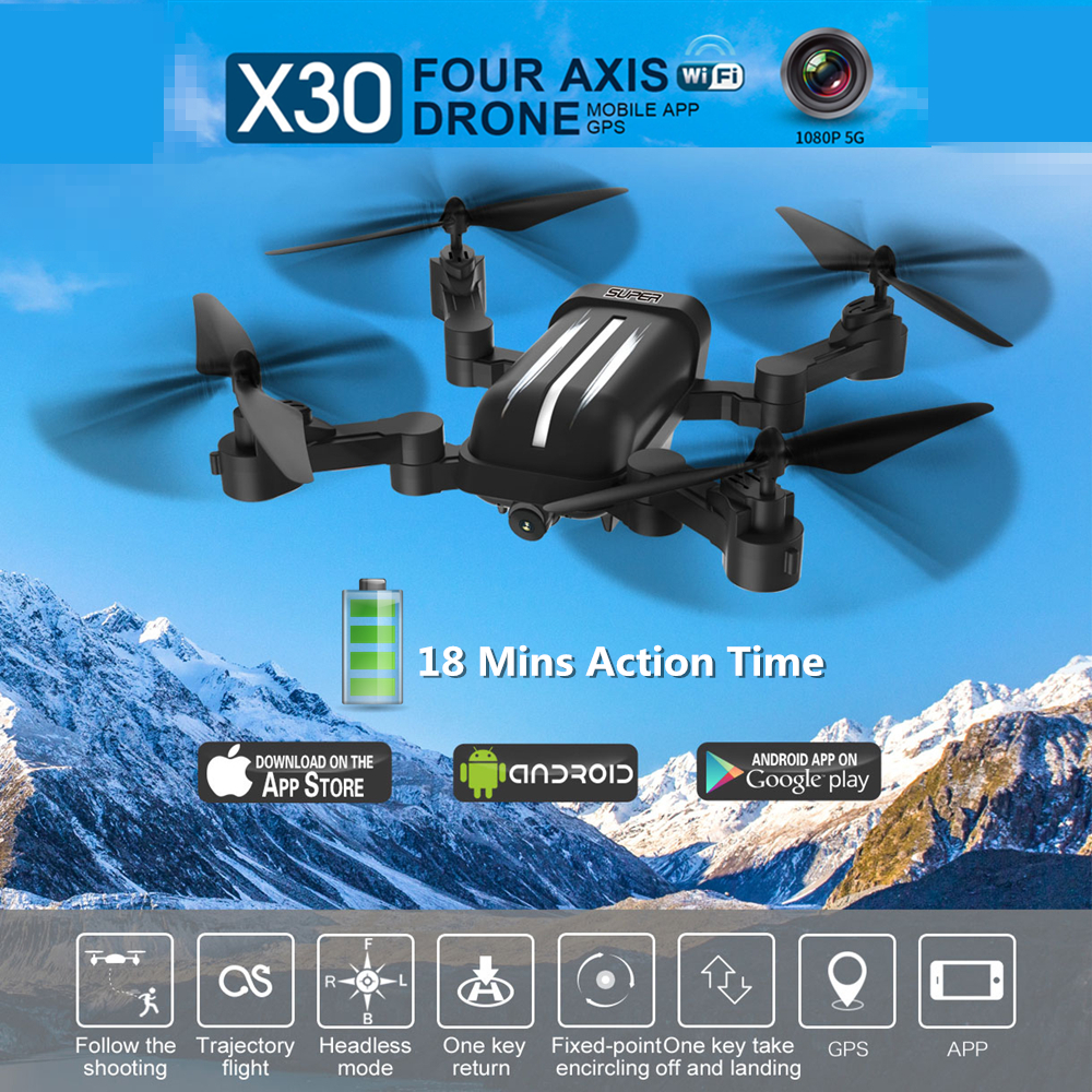 Bayangtoys X30 RC Drone With Camera GPS 5G 1080P FPV WIFI 18 Mins Fly Time Follow Me Foldable Quadrocopter RC Dron VS XS812 E58 cg033 dron follow me brushless motor rc drone with 1080p camera no wifi fpv long fly time rc helicopter pk aosenma cg035 s70w