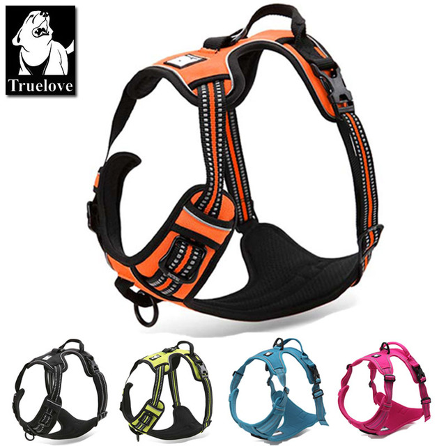 Truelove Reflective Nylon Large pet Dog Harness All Weather Service Dog Ves Padded Adjustable Safety Vehicular Lead For Dogs Pet