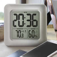 Timers LCD Digital Waterproof For Water Splashes Bathroom Wall Clock With Sucker Wash Shower Clocks Timer Humidity Temperature