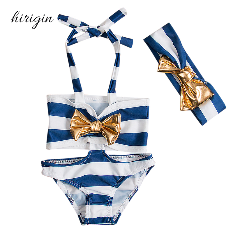 de00b20148 HIRIGIN Brand Cotton Blend Children Kids Baby Girls Navy Stripe Bikini Set  Swimsuit Swimwear Bathing Suit-in Children's Two-Piece Suits from Sports ...