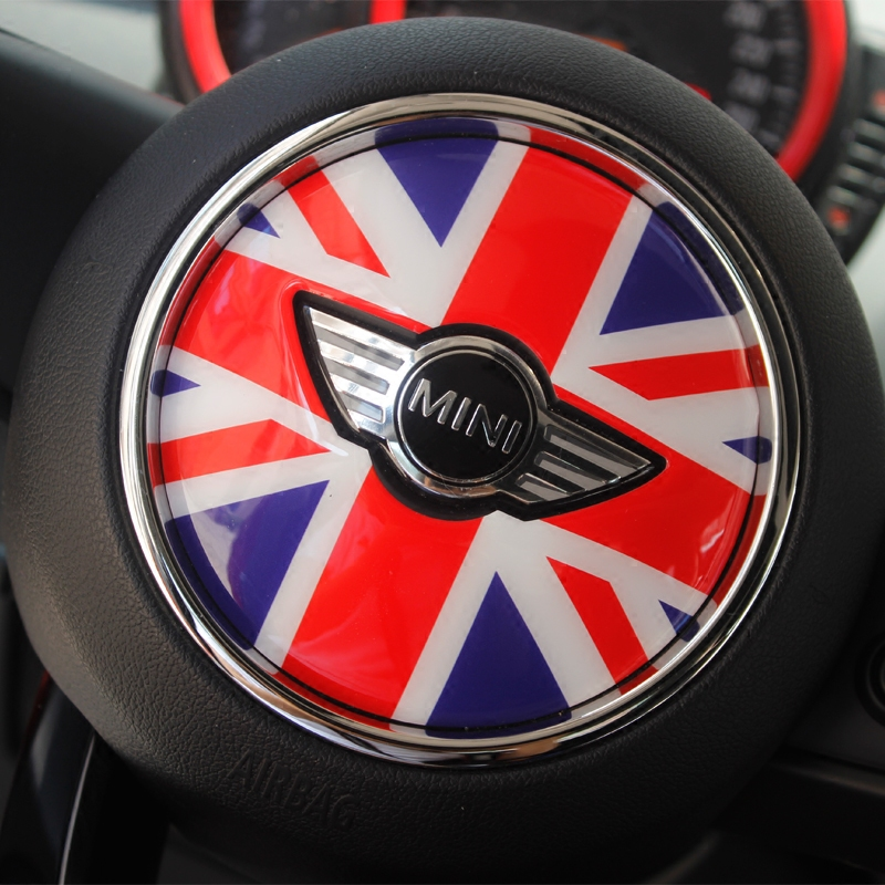 3D rubber checkered union jack Steering Wheel Sticker for mini cooper s F55 F54 F56 R53 r50 accessories (measure your car pls) senior luxury hand knitted bv style car steering wheel cover for mini cooper
