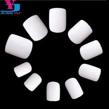 1 torba moda krótkie fałszywe sztuczne paznokcie wskazówek Para Unhas de Gel 500 sztuk + 100 piękna akrylowe pełna sztuczne białe okrągły Faux Ongles