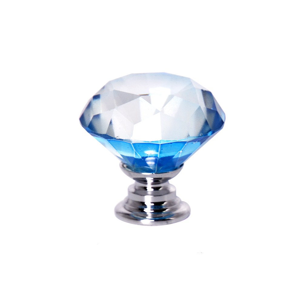 Hbl 10pcs 30mm/40mm Diamond Shape Lt Sapphire Crystal Glass Knobs For Cupboard Drawer Pull Kitchen Cabinete Wardrobe Hardware To Have A Unique National Style Cabinet Pulls Cabinet Hardware