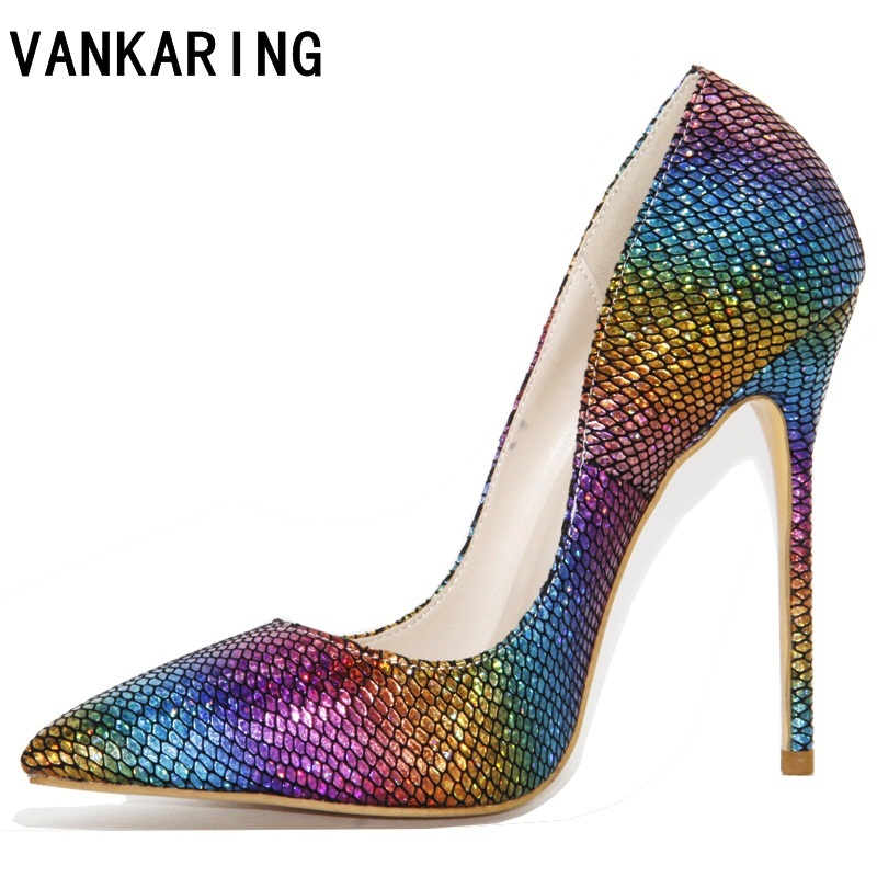 VANKARING new 2018 brand fashion women party shoes lmitation snake woman shoes sexy stilettos high heels pointed toe women pumps 2018 pointed toe high heels wedding shoes for brides brand designer fashion sexy evening high heels women stilettos nysiani
