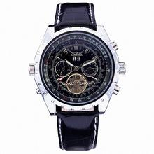 WINNER Men Mechanical Watch Sub-Dials Date Tourbillon Leather Strap Black Dial Silver Case10