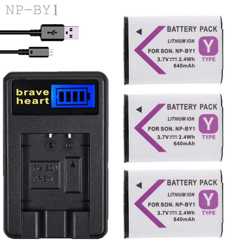 Новое зарядное устройство USB + 3X NP BY1 аккумулятор литий ионный 3 7 V NPBY1 для Sony HDR AZ1 AZ1VR