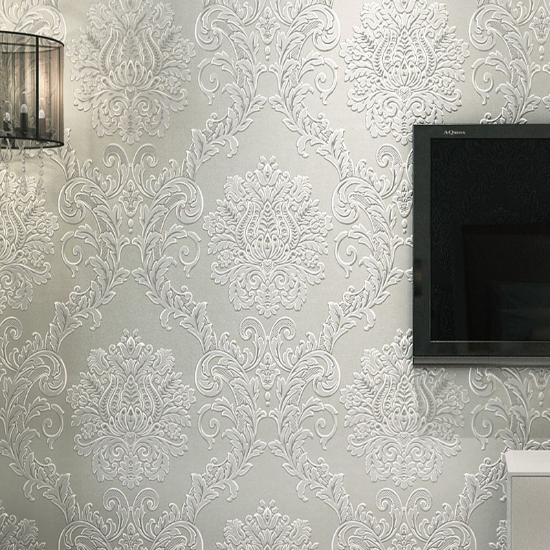 White Damascus Wallpaper 3D Stereoscopic Embossed Non-Woven Wall Paper Roll Living Room Bedroom Wall Covering Papel De Parede 3D beibehang damascus non woven papel de parede 3d embossed flocking wallpaper living room bedroom decoration wall paper wall mural