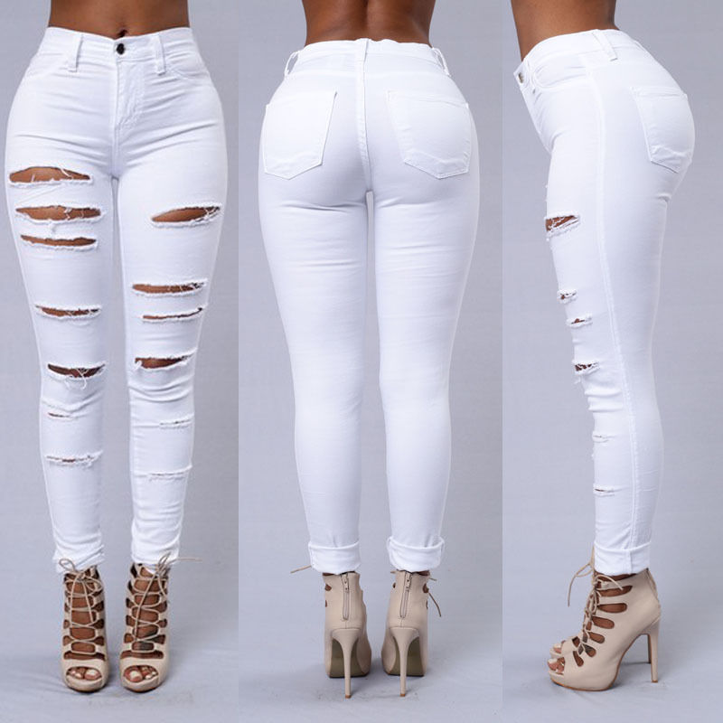 Slim Jeans for Women New Fashion Summer Faded Ripped Skinny Denim Jeans Sexy Hole Jeans White Black High Waist Pencil Jeans