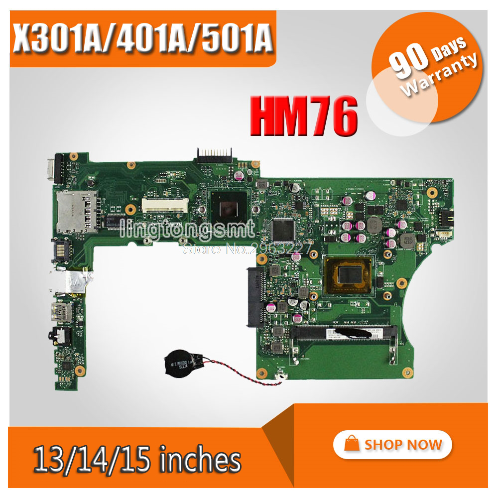 For Asus X501A X301A X401A Laptop Motherboard REV3.0 Maibboard With i3 Processor HM76 100% tested for asus x401a x501a hm70 sljnv b820 b940 laptop motherboard rev2 0 ddr3 pga989 mainboard 100