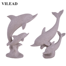 VILEAD 16.5 Sand Stone Dolphin Figurine Miniatures Vintage Animal Statue Modern Abstract Sculpture Home Office Decor
