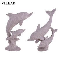 VILEAD 16.5'' Sand Stone Dolphin Figurine Miniatures Vintage Animal Statue Modern Abstract Dolphin Sculpture Home Office Decor