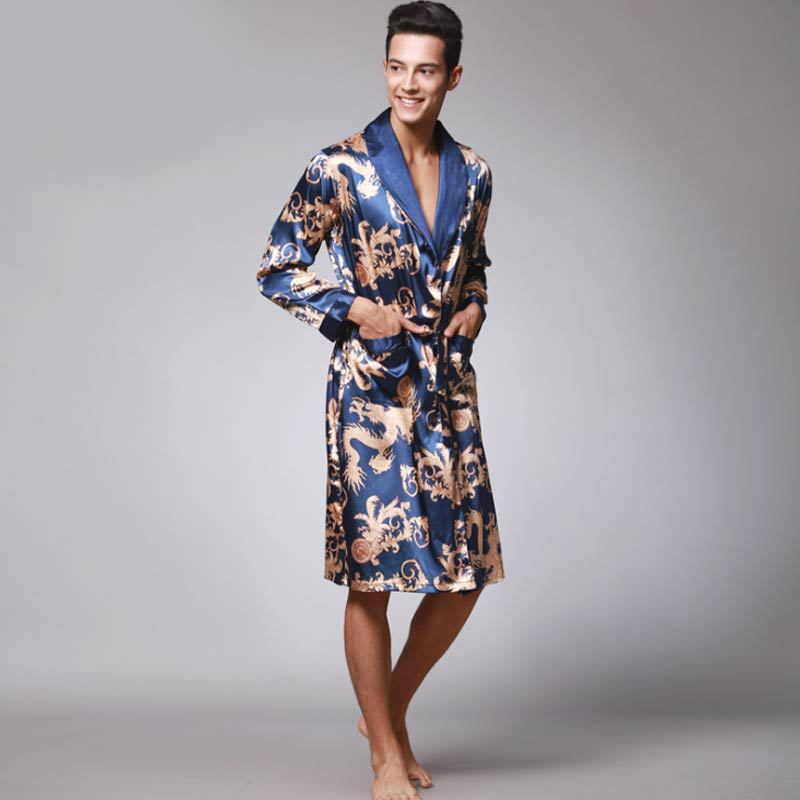 Luxury Men Robe Bathrobe Faux Silk Robes Long Home Clothing Male Sleep Robe XXL Summer Homewear