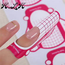 H.L.H 500 Pcs Nail Art Lalic Tips Extension Forms Guide Tip Sticker Beauty Manicure Shape Accessories Pink flies