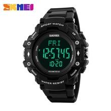 Hombres reloj deportivo skmei marca frecuencia cardíaca podómetro relojes led digital 50 m impermeable reloj cronógrafo de pulsera de moda relojes de alarma