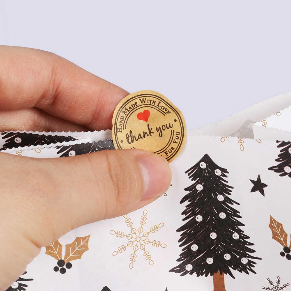 5pcs Saco de Papel de Feliz Natal Do Floco De Neve Do Boneco de neve Da Árvore de Natal Do Bolinho Comida Saco de Embalagem do Presente da Festa de Aniversário Favor Sacos Suporte