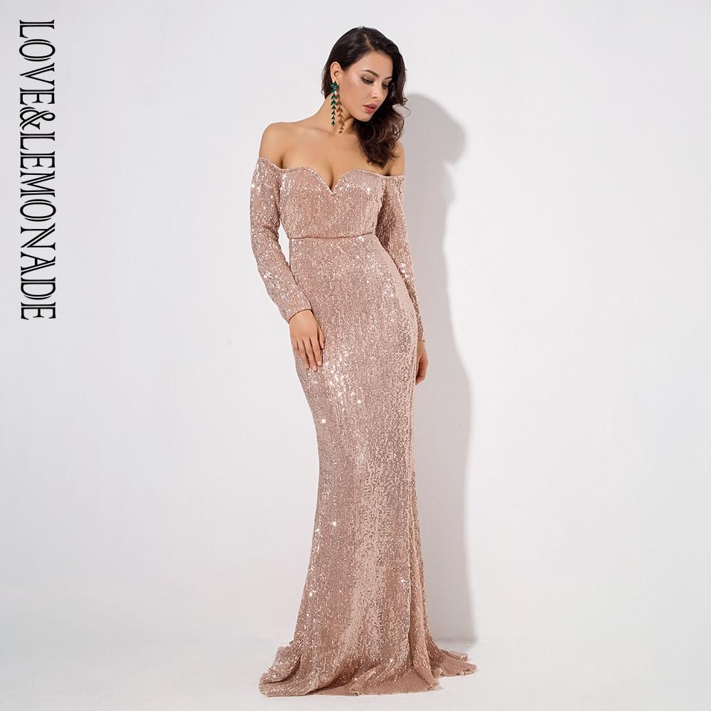 Love Lemonade Gold Deep V Collar Long Sleeve Elastic Sequin Material Long Dress LM1070