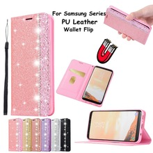Glitter Magnetic Stand Holder Phone Case for Samsung S8 S9 Plus Note 8 9 Leather Wallet