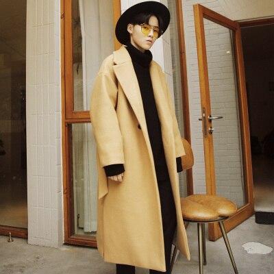 jaune rouge De Noir Mélange Oiseau Dos Laine Broderie Hommes Vestes Mode Longue Manteau XiPTwOkZu