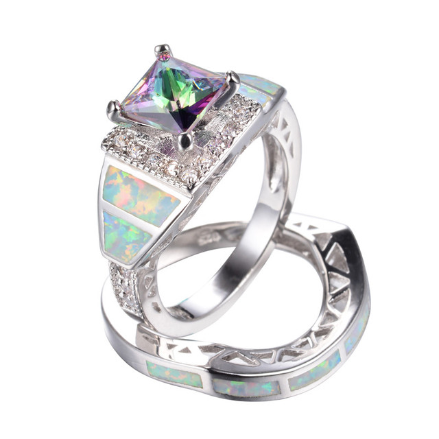 Mysterious Rainbow Zircon White Fire Opal Wedding Ring Set For Women