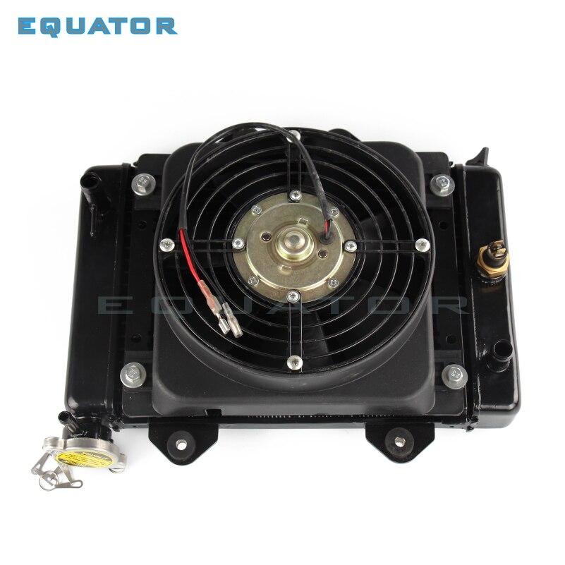 Moto rcyel pièces moteur refroidi à l'eau refroidisseur de refroidissement radiateur de refroidissement et 12 v ventilateur pour 150cc 200cc 250cc moto Quad 4x4 ATV UTV pièces
