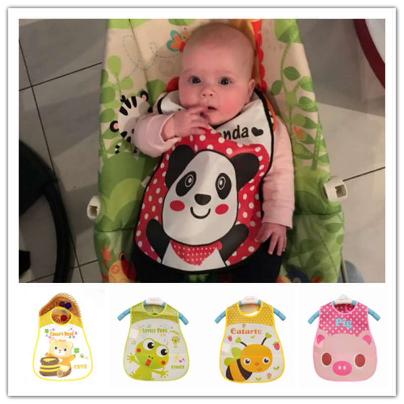 Adjustable Baby Bibs EVA Plastic Waterproof Lunch Feeding Bibs Cartoon Panda Bee Print Baby Triangle Towel for Newborn Boy Girls