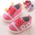 Bebé 0-2 años de edad 11--13CM Primavera/Otoño moda flor muchacha de La princesa Flor zapatos de lona zapatillas de deporte casuales