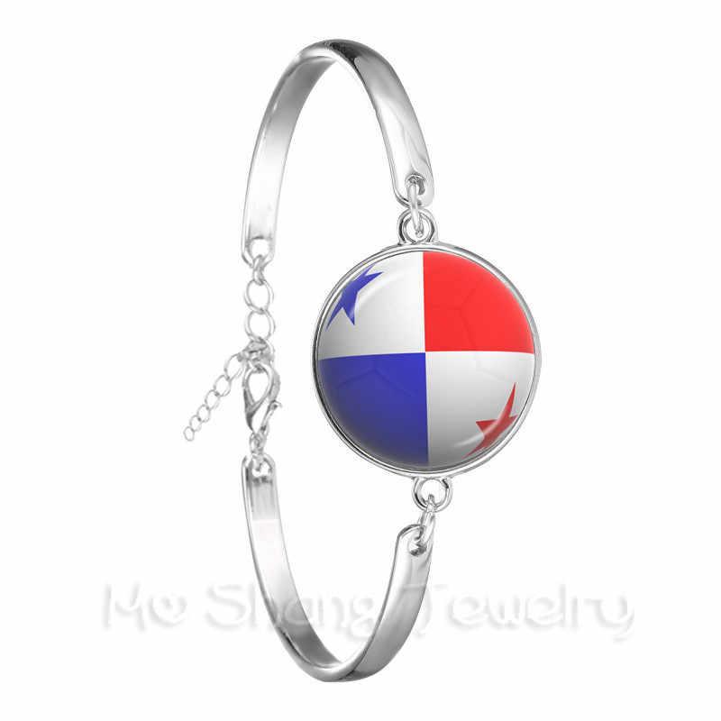 Novo 2018 Moda Pulseira da Copa Do Mundo de Futebol Nacional Bandeira Do Panamá, Austrália, Egito, Argentina, Rússia, alemanha, Dinamarca, Polônia, Iceland