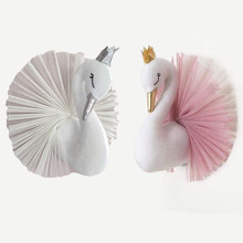3D Fairy Swan Head Wall Mount Princess Pink Swan Dolls Stuffed Animal Head Wall Hanging Decor Soft Toys for Kids Nursery Room(China)