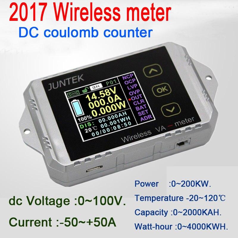 100 V 50a Dc Volt Amp Power Meter Battery Monitor Senza Fili Temperatura Capacità Coulomb Contatore Di Scarico Di Carica Auto Elettrica