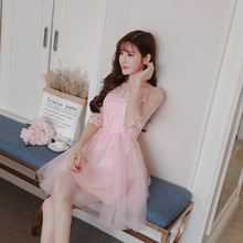цены Bridesmaid Dress  Wedding Guest Dress  Above Knee Mini Dress    Empire  Embroidery Party Show  Pink Color
