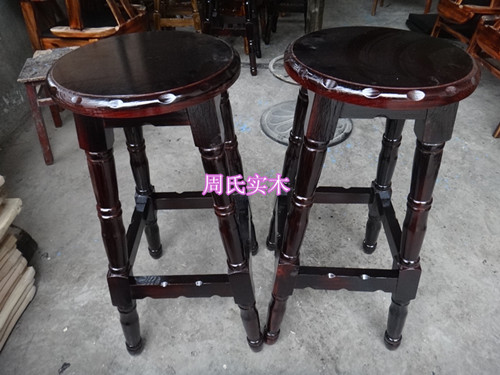 Carbonized wood burning european style multicolor bar stool chairs